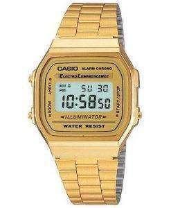 Casio Digital Alarm Chrono Stainless Steel A168WG-9WDF A168WG-9W Unisex Watch