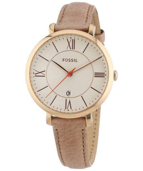 Fossil Jacqueline White Dial Camel Leather Strap ES3487 Womens Watch