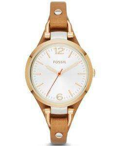 Fossil Georgia White Dial Rose Gold Tone Brown Leather Strap ES3565 Womens Watch