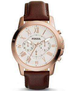 Fossil Grant Chronograph Brown Leather FS4991 Mens Watch