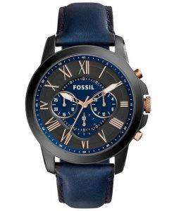 Fossil Grant Chronograph Black and Blue Dial Blue Leather FS5061 Mens Watch