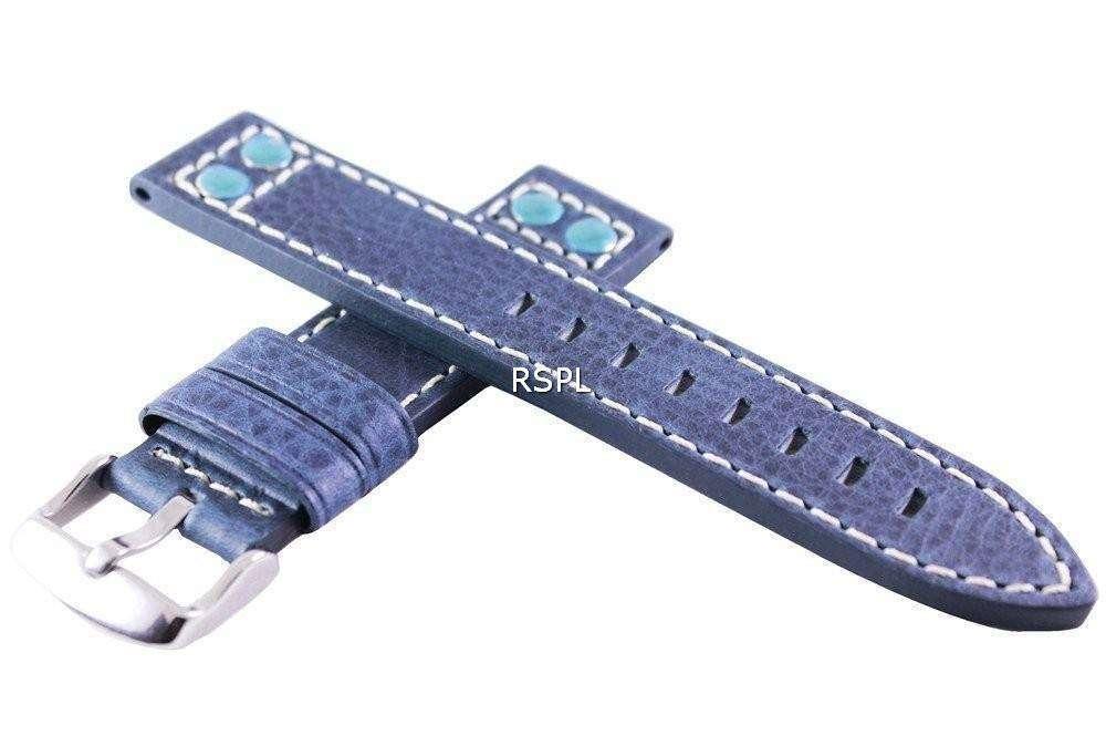 Blue Ratio Brand Leather Strap 20mm For SKX007, SKX009, SKX011, SRP497, SRP641