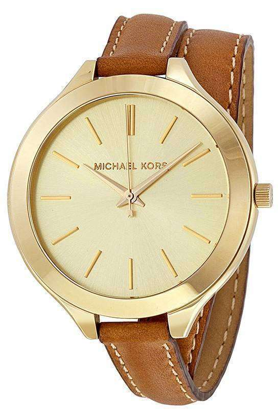 Michael Kors Runway Champagne Dial Tan Leather MK2256 Womens Watch