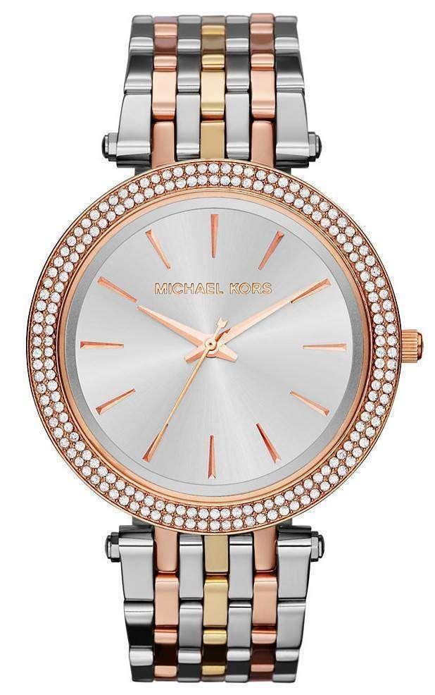Michael Kors Silver Dial Tri-tone Crystals MK3203 Womens Watch