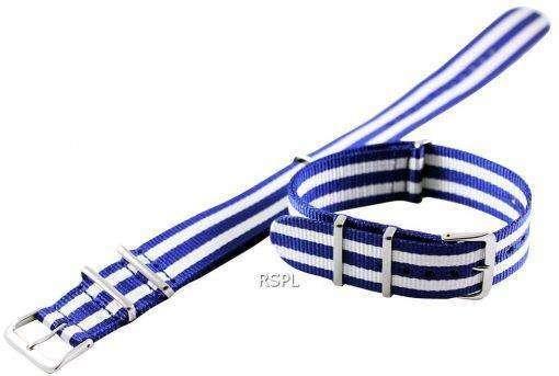Blue And White Nato Strap 22mm For SKX007, SKX009, SKX011, SRP497, SRP641