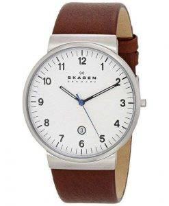 Skagen Ancher Brown Leather Strap SKW6082 Mens Watch