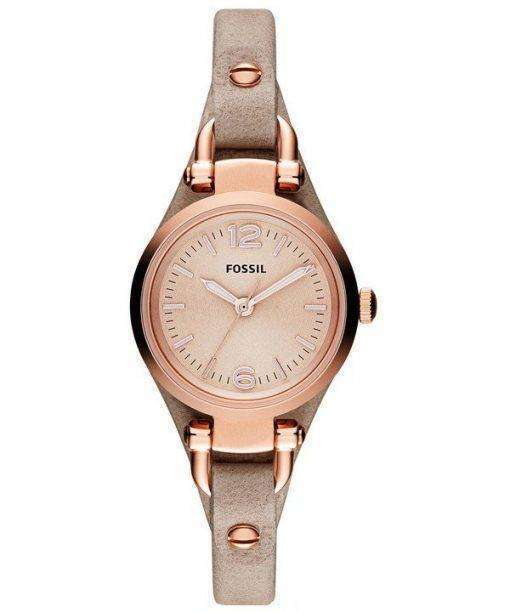 Fossil Georgia Mini Rose Dial Sand Leather Strap ES3262 Womens Watch