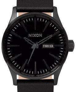 Nixon Quartz Sentry Black Leather A105-001-00 Mens Watch