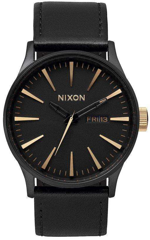Nixon Quartz Sentry Black Leather A105-1041-00 Mens Watch