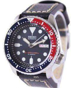 Seiko Automatic Divers Ratio Black Leather SKX009J1-LS2 200M Mens Watch
