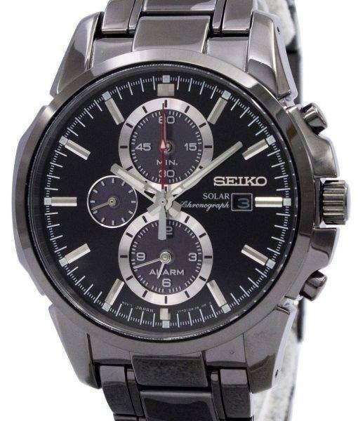 Seiko Solar Chronograph Alarm Black Dial SSC095P1 Mens Watch