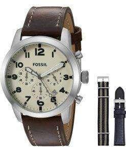 化石パイロット 54 クロノグラフ レザーとナイロン ボックス セット FS5182SET メンズ腕時計