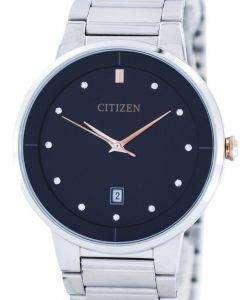 市民水晶ダイヤモンド アクセント ブラック ダイヤル BI5014 58E メンズ腕時計