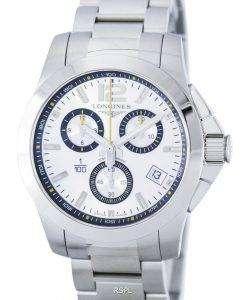 ロンジン コンクエスト 1/100 セント モリッツ クオーツ クロノグラフ L3.700.4.78.6 メンズ腕時計
