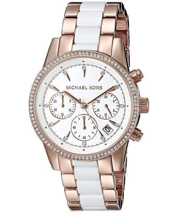 Michael Kors Ritz Quartz Chronograph Crystal Accents MK6324 Ladies Watch
