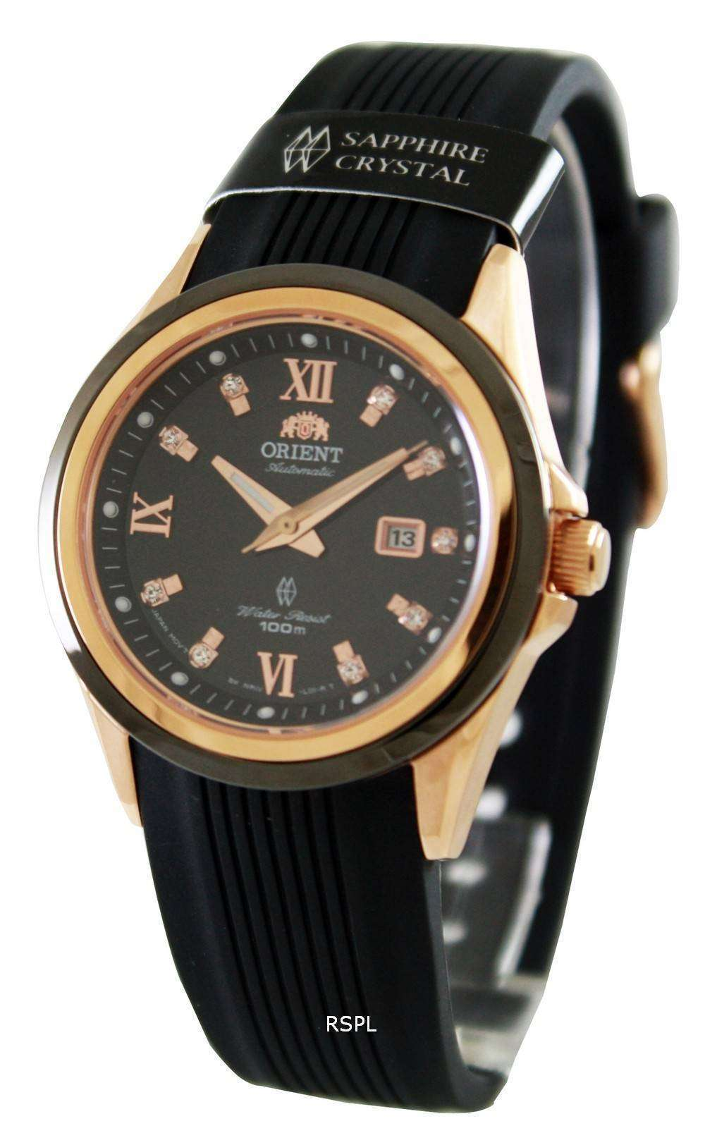 スポーティな自動 NR1V001B レディース腕時計をオリエントします。