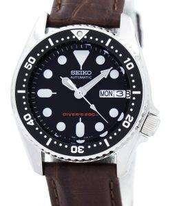 セイコー自動ダイバーズ 200 M 比茶色の革 SKX013K1 LS3 メンズ腕時計