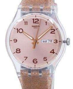 スウォッチ オリジナル ピンク Glistar クオーツ SUOK703 ユニセックス腕時計