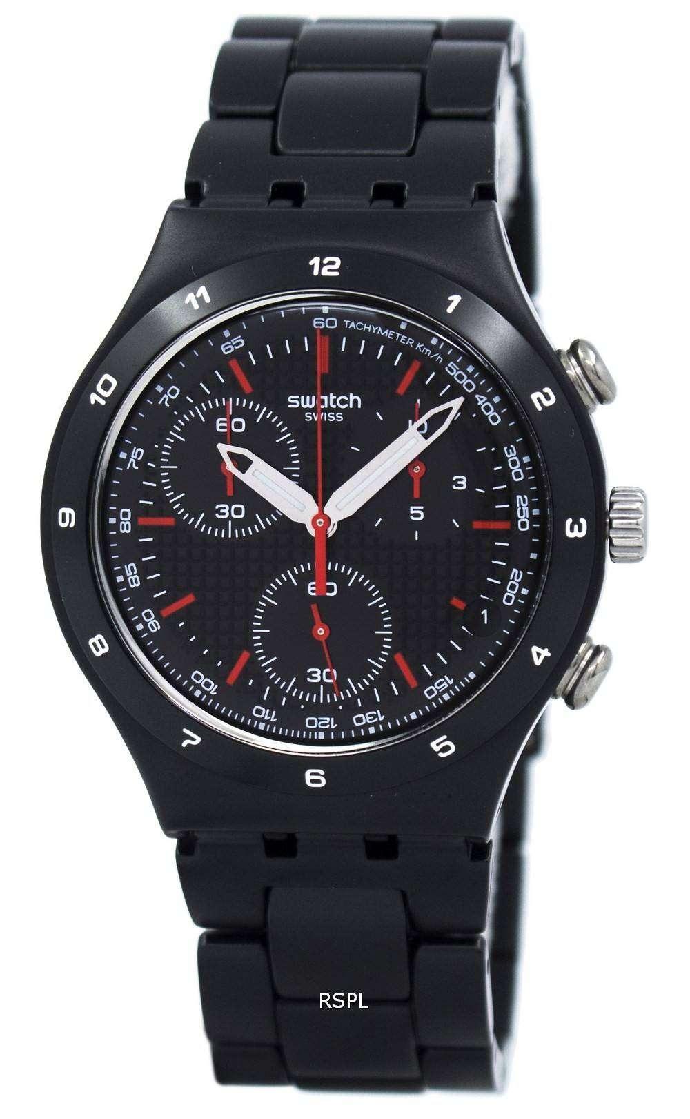 スウォッチ アイロニー ブラック コーティング Chorongraph クオーツ YCB4019AG ユニセックス腕時計