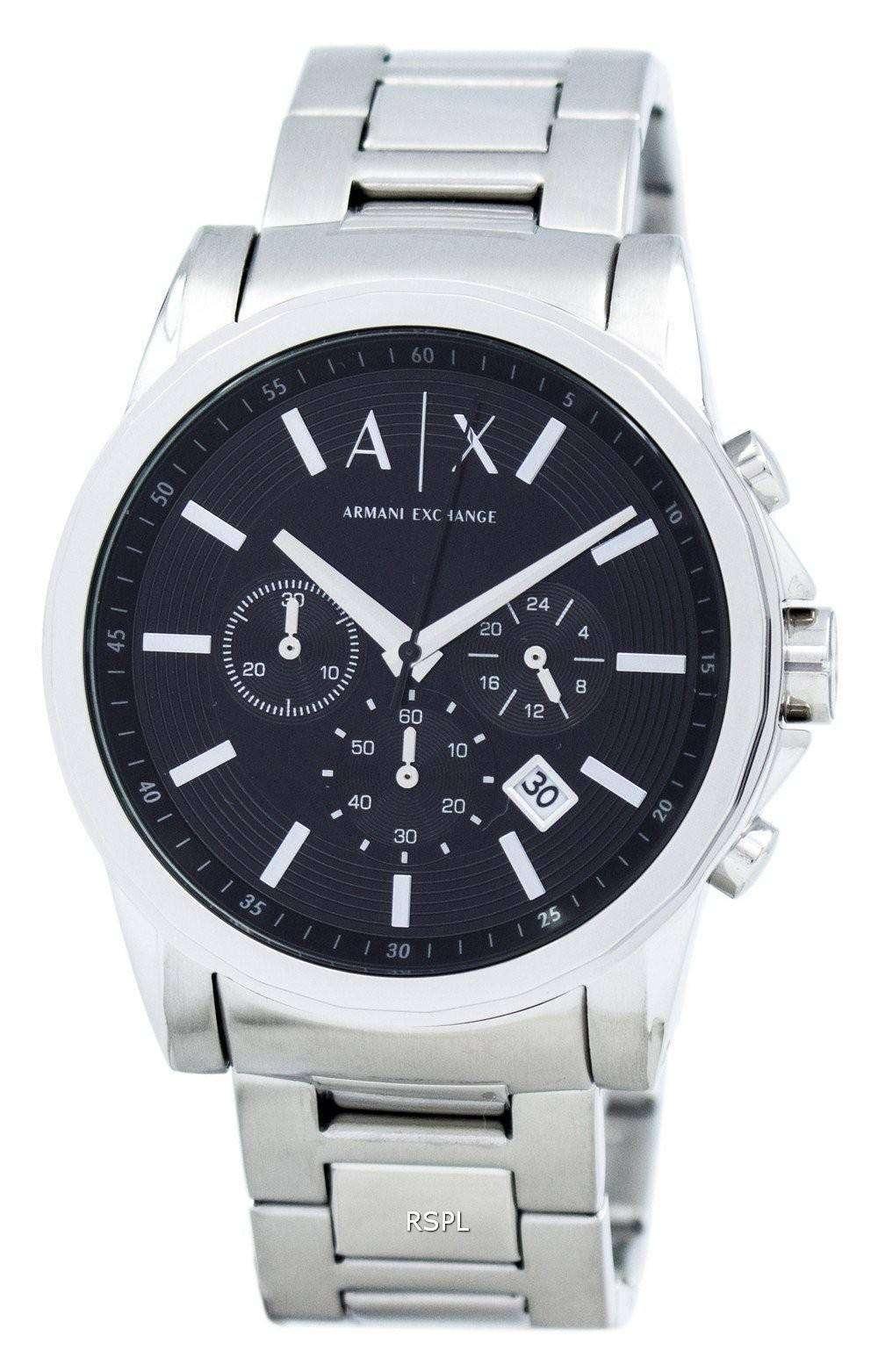 アルマーニエクス チェンジ クロノグラフ ブラック ダイヤル AX2084 メンズ腕時計
