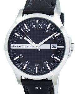 アルマーニエクス チェンジ ブラック ダイヤル レザー ストラップ AX2101 メンズ腕時計