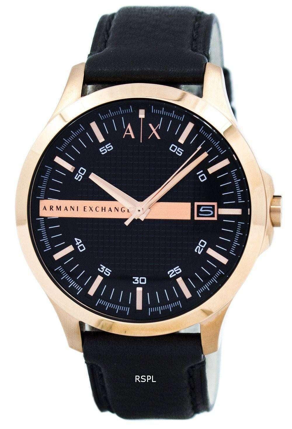 アルマーニエクス チェンジ ローズ ゴールド ブラック ダイヤル レザー ストラップ AX2129 メンズ腕時計