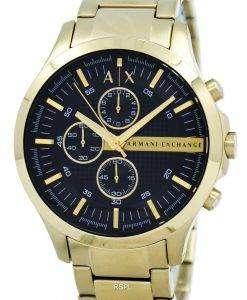 アルマーニエクス チェンジ水晶ゴールド トーン クロノグラフ ブラック ダイヤル AX2137 メンズ腕時計