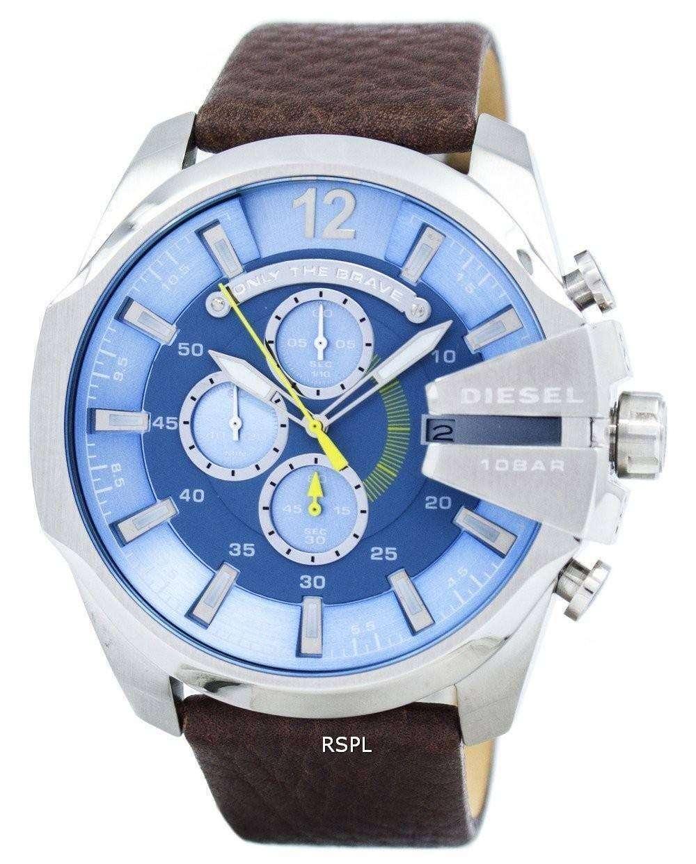 ディーゼル メガ チーフ クロノグラフ ブルー ダイヤル DZ4281 メンズ腕時計