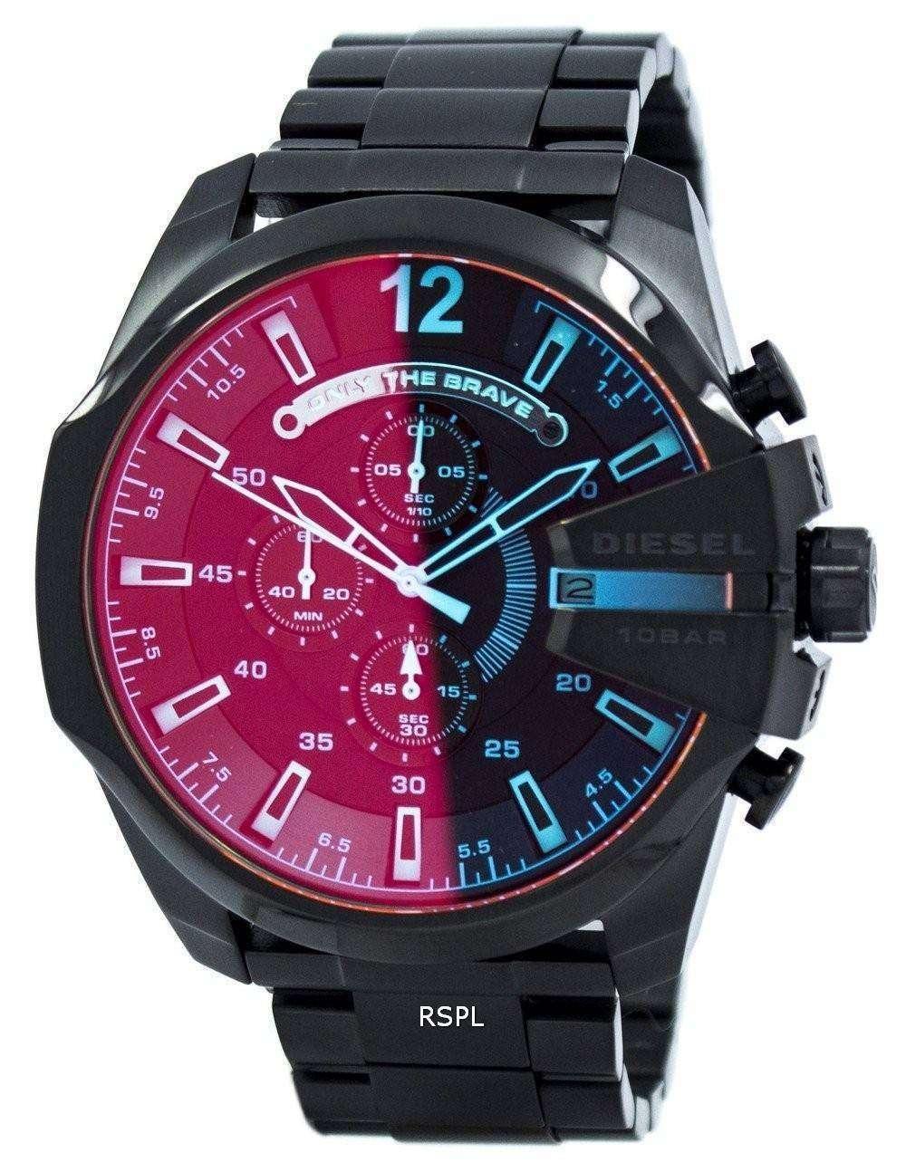 ディーゼル メガ チーフ ブラック イオンめっきブラウン ダイヤル DZ4318 メンズ腕時計