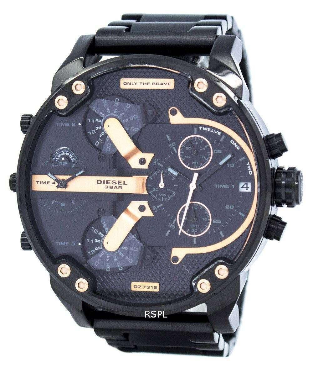 ディーゼルさんパパ 2.0 特大クロノグラフ ブラック ダイヤル DZ7312 メンズ腕時計