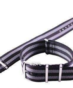 セイコー 22 mm グレー SKX007、SKX009、skx011 腕時計、SRP497、SRP641 のための Nato ストラップをブラック ・