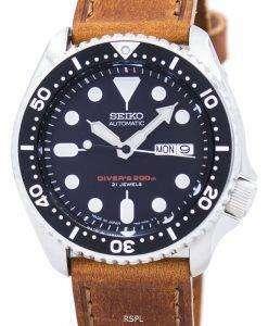 セイコー自動ダイバーズ比茶色の革 SKX007J1 LS9 200 M メンズ腕時計