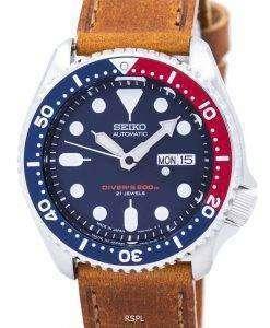 セイコー自動ダイバーズ比茶色の革 SKX009J1 LS9 200 M メンズ腕時計