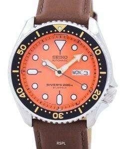 セイコー自動ダイバーズ比茶色の革 SKX011J1 LS12 200 M メンズ腕時計