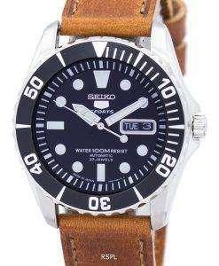 セイコー 5 スポーツ自動 23 宝石比茶色の革 SNZF17J1 LS9 メンズ腕時計