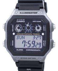 カシオ青年シリーズ照明クロノグラフ アラーム デジタル AE 1300WH 8AV メンズ腕時計
