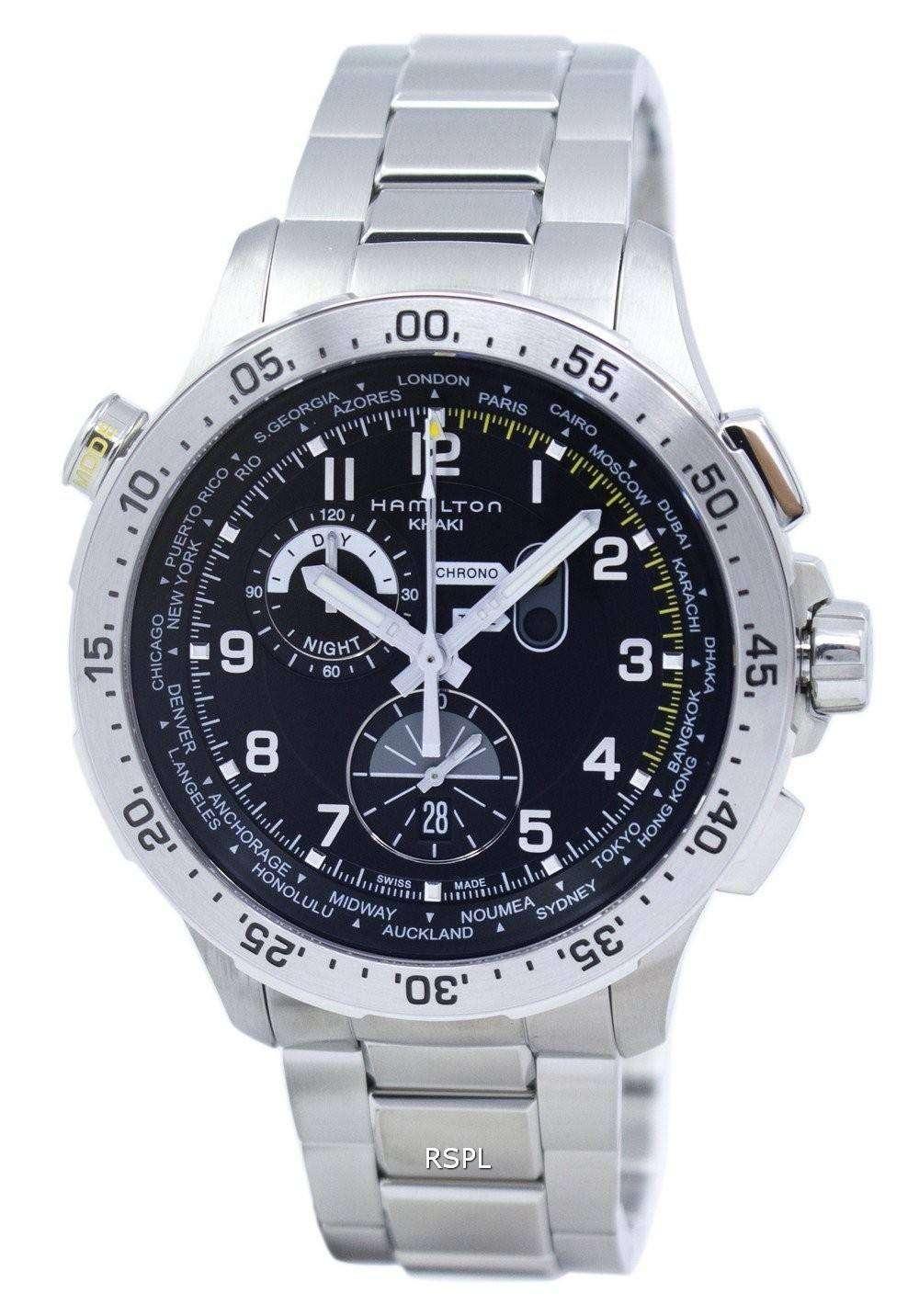 ハミルトン カーキ アヴィエイション ワールドタイマー クロノグラフ クォーツ H76714135 メンズ腕時計