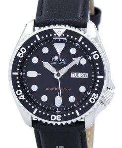 セイコー自動ダイバーズ 200 M 比黒革 SKX007K1 LS10 メンズ腕時計