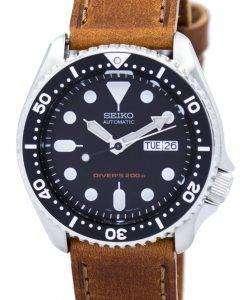 セイコー自動ダイバーズ 200 M 比茶色の革 SKX007K1 LS9 メンズ腕時計