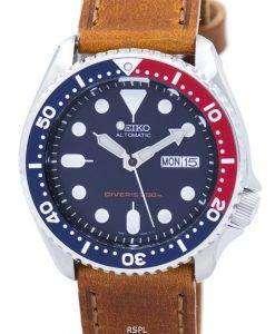 セイコー自動ダイバーズ 200 M 比茶色の革 SKX009K1 LS9 メンズ腕時計