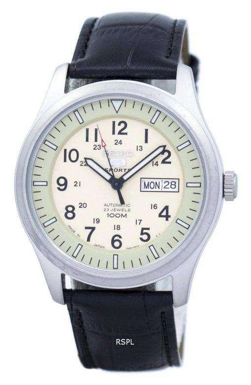 セイコー 5 スポーツ軍事自動日本製比黒革 SNZG07J1 LS6 メンズ腕時計