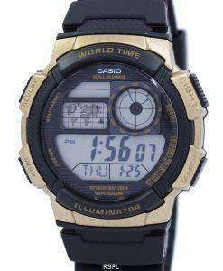 カシオ照明ワールド タイム アラーム AE 1000 w 1A3V AE1000W 1A3V メンズ腕時計