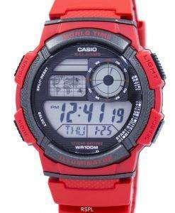 カシオ青年世界アラーム時間世界地図 AE 1000 w 4AV AE1000W 4AV メンズ腕時計