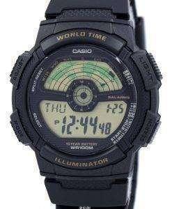 カシオ青年照明時間世界世界地図 AE 1100 w 1BV AE1100W 1BV メンズ腕時計