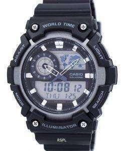 カシオ青年世界時間アラーム平静時 200 w 1AV アナログ デジタル AEQ200W 1AV メンズ腕時計