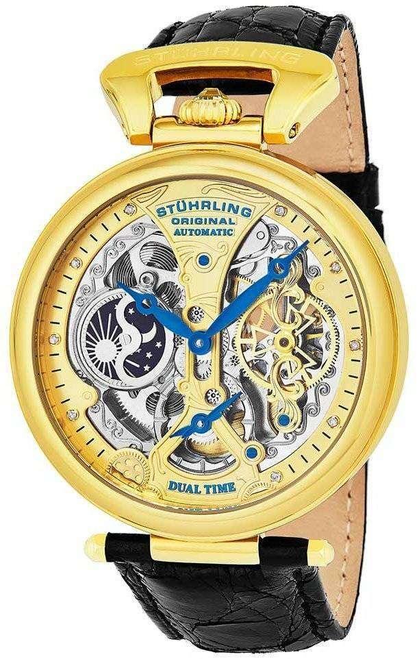 Stuhrling 元天皇グランド デュアル タイム自動 127A2.333519 メンズ腕時計