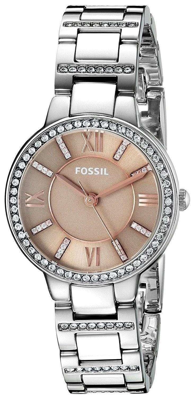 化石バージニア水晶ダイヤモンド アクセント ES4147 レディース腕時計