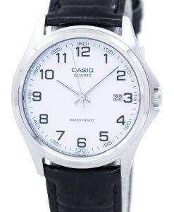 カシオ石英アナログ ホワイト ダイアル ブラック レザー MTP 1183E 7BDF MTP 1183E 7B メンズ腕時計