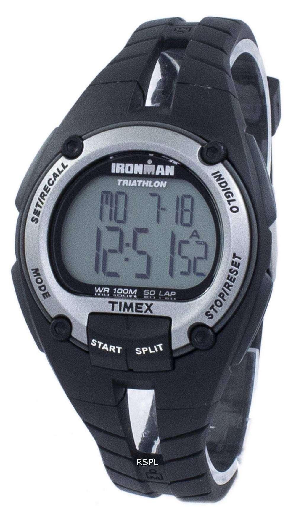 タイメックスは、アイアンマン トライアスロン 50 ラップ Indiglo デジタル T5K155 男性用の腕時計をスポーツします。