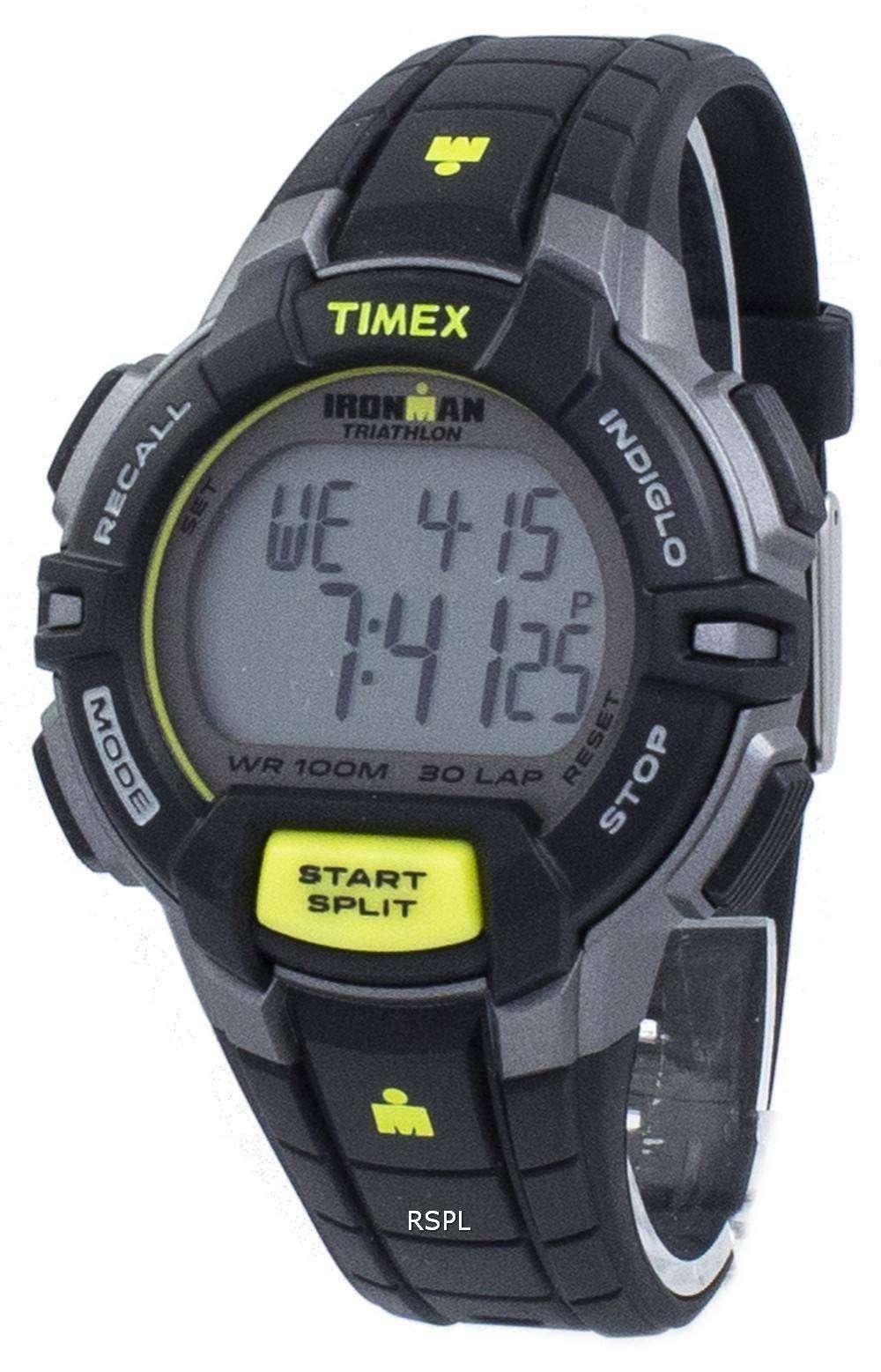 タイメックスは、アイアンマン トライアスロン頑丈な 30 ラップ Indiglo デジタル T5K790 メンズ腕時計をスポーツします。